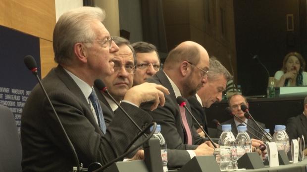 Mario Monti, Antonis Samaras, Martin Schulz, José Manuel Barroso   Photo: Graham Waghorn